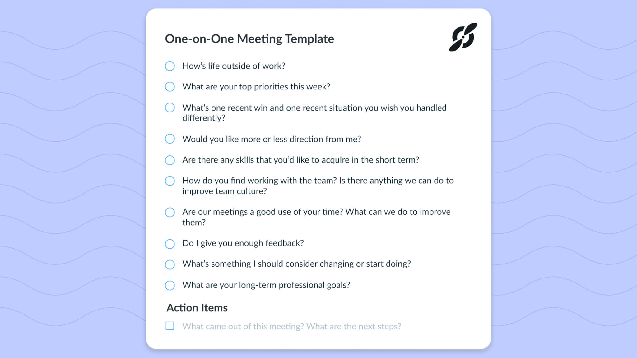 One on one meeting template Fellow