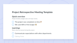 project retrospective template preview