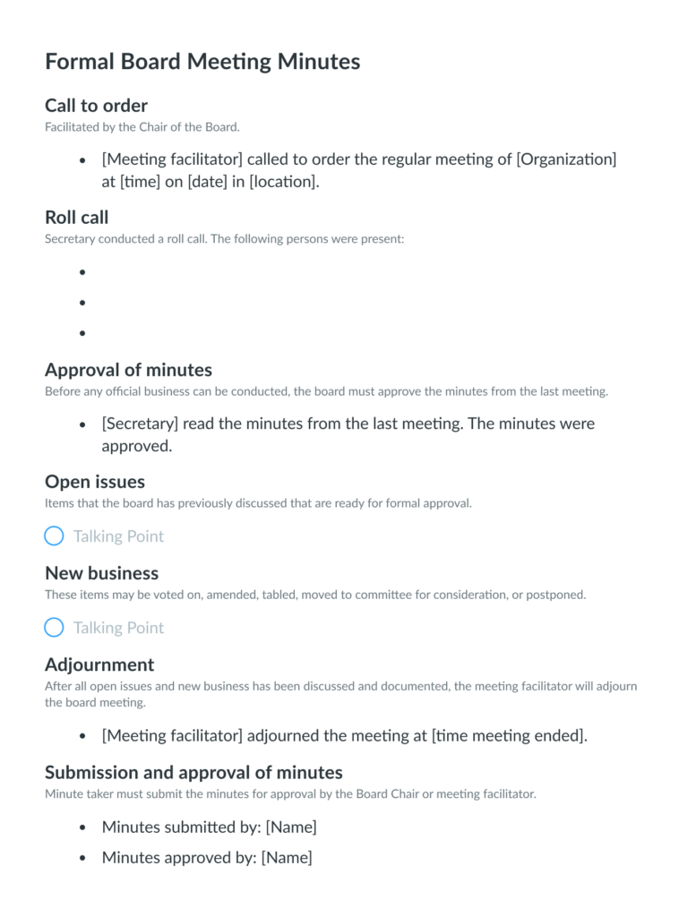 Formal Board Meeting Minutes Template